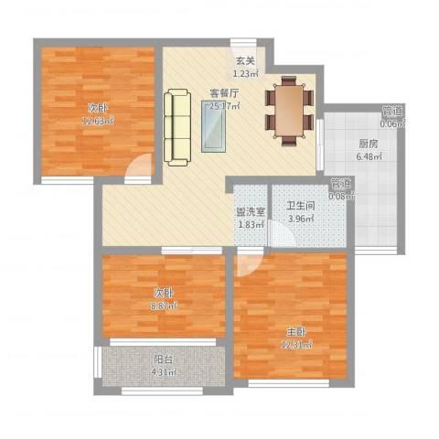海情丽都3室1厅1卫1厨107.00㎡户型图