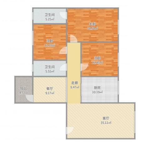 名苑华庭1座14013室2厅2卫1厨154.00㎡户型图