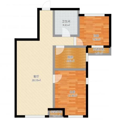 万科海港城2室1厅1卫1厨85.00㎡户型图