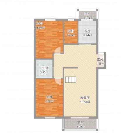 玲珑花园3室1厅1卫1厨131.00㎡户型图