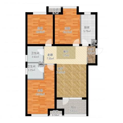 荣盛・白鹭岛3室1厅2卫1厨123.00㎡户型图