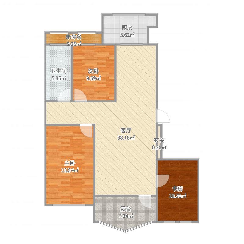 众诚万家三期B2三房两厅一卫119.43