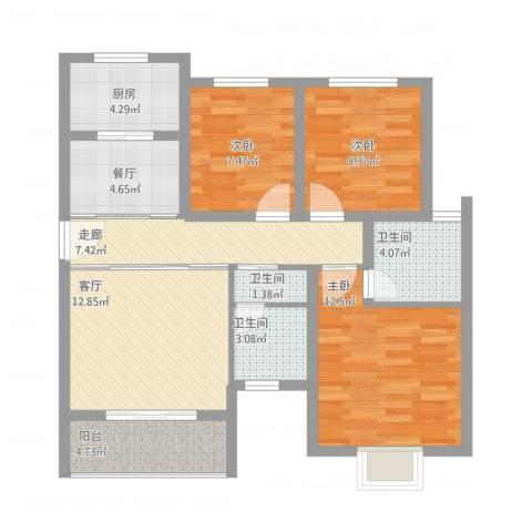 金地梅陇镇3室2厅3卫1厨104.00㎡户型图