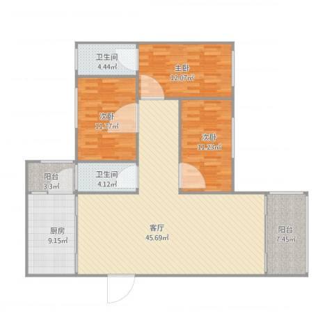 岐海苑3室1厅2卫1厨146.00㎡户型图