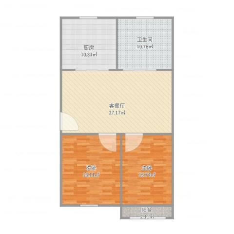 泰和新城2室1厅1卫1厨108.00㎡户型图