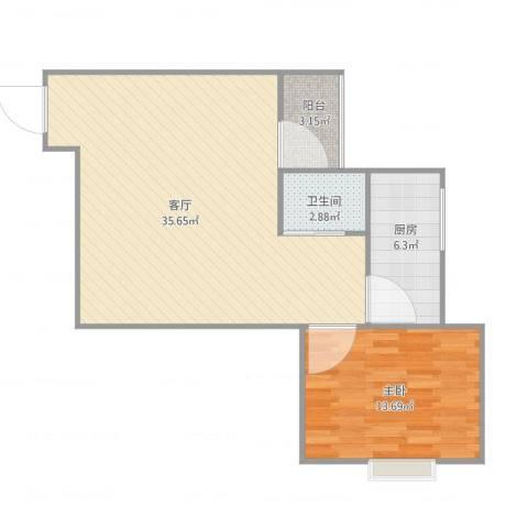 鸿业新天地1室1厅1卫1厨82.00㎡户型图