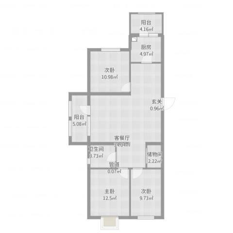 开元溪府3室1厅1卫1厨124.00㎡户型图