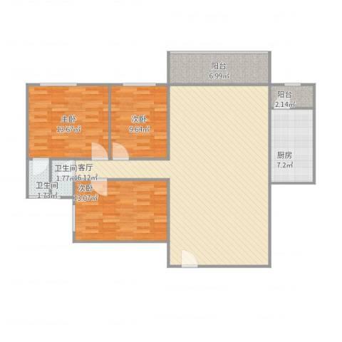 嘉信城市花园三期3室1厅2卫1厨137.00㎡户型图