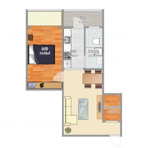 磨房南里1室1厅1卫1厨58.00㎡户型图