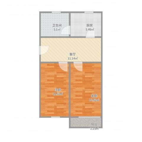 鞍山一村2室1厅1卫1厨65.00㎡户型图