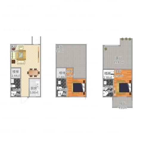 中冶枫树湾2室1厅3卫1厨165.00㎡户型图