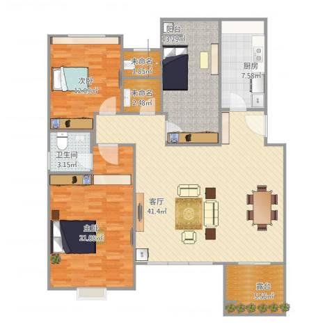 宝龙城市广场2室1厅1卫1厨145.00㎡户型图