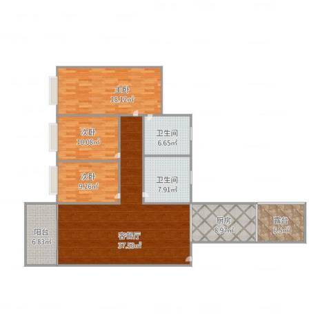 碧翠豪苑3室1厅2卫1厨150.00㎡户型图