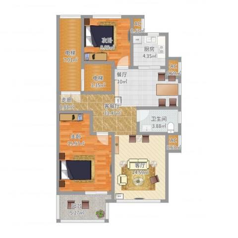 星星港湾文斓苑2室1厅1卫1厨121.00㎡户型图