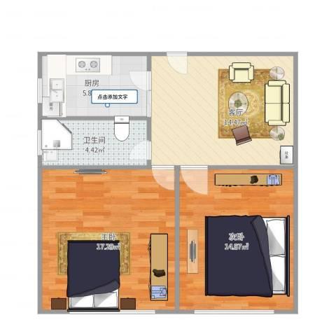 鹏宏苑2室1厅1卫1厨76.00㎡户型图