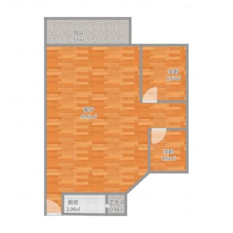 环湖花园B7152室1厅1卫1厨83.00㎡户型图