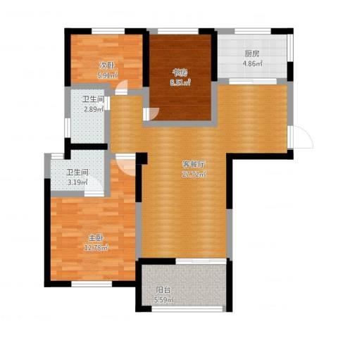 圣联梦溪小镇3室1厅2卫1厨105.00㎡户型图