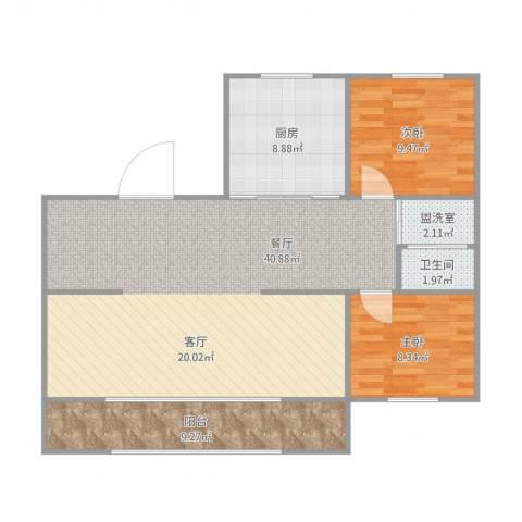 红梅小区2室2厅1卫1厨109.00㎡户型图