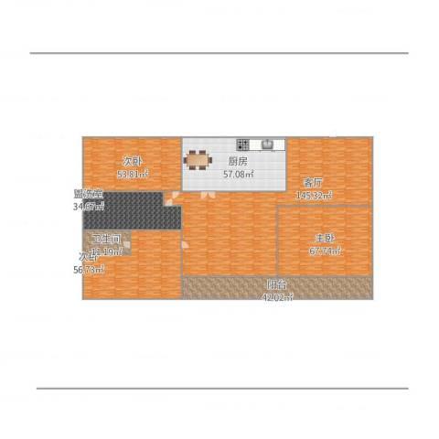 天亚水景城3室2厅1卫1厨607.00㎡户型图