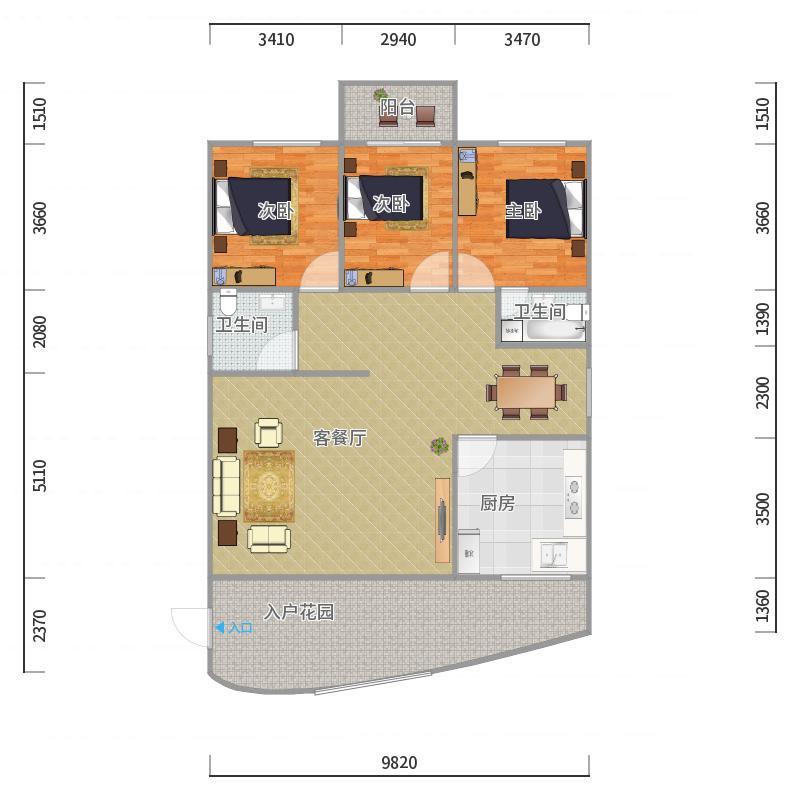 佳韵园134-140平三房