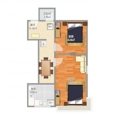 广渠门内大街6号楼2室1厅1卫1厨55.00㎡户型图