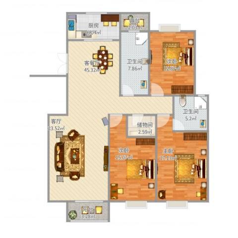 新都华城3室1厅2卫1厨158.00㎡户型图