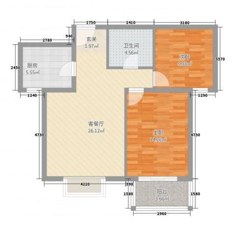 金垣置地2室1厅1卫1厨90.00㎡户型图