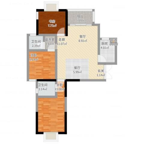 万和源居3室1厅2卫1厨106.00㎡户型图