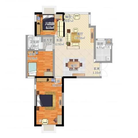 万和源居3室1厅1卫1厨124.00㎡户型图