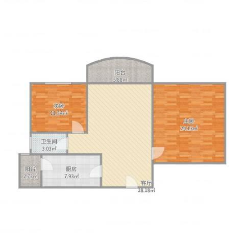 伯爵大地2室1厅1卫1厨111.00㎡户型图
