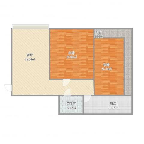 龙海南苑2-1-33022室1厅1卫1厨151.00㎡户型图