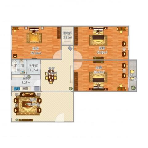太行生活区117平3室2厅1卫1厨225.00㎡户型图