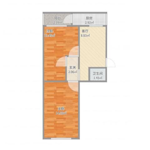 西坝河东里2室1厅1卫1厨60.00㎡户型图