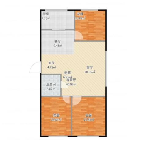 金海华府3室1厅1卫1厨124.00㎡户型图