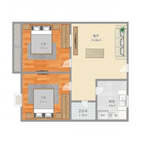 长盛小区2室1厅1卫1厨57.00㎡户型图