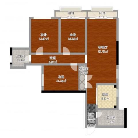 远洋香奈3室1厅1卫1厨130.00㎡户型图