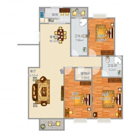 新都华城3室1厅2卫1厨142.00㎡户型图