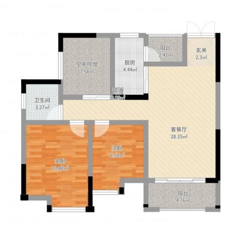 鸥鹏・天境2室1厅1卫1厨107.00㎡户型图