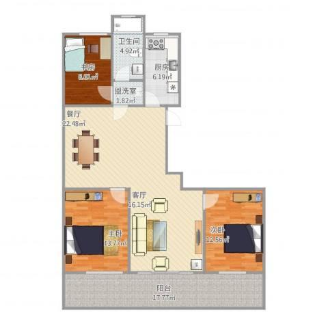 宝恒水木清华3室1厅1卫1厨140.00㎡户型图