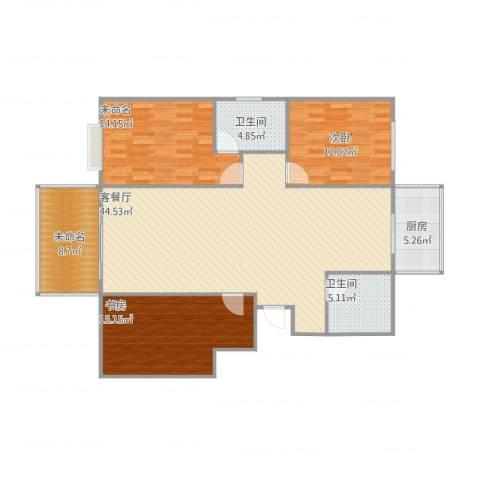 锦华名苑2室1厅2卫1厨147.00㎡户型图