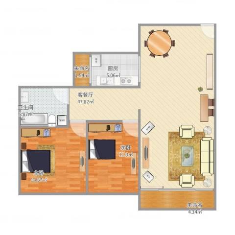 南湖半岛花园2室1厅1卫1厨122.00㎡户型图