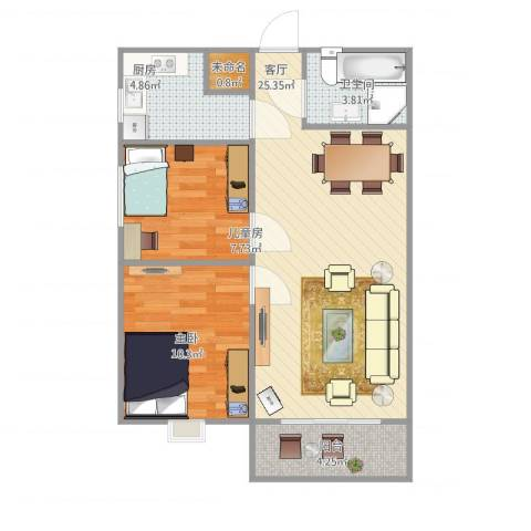 玉门河小区2室1厅1卫1厨77.00㎡户型图