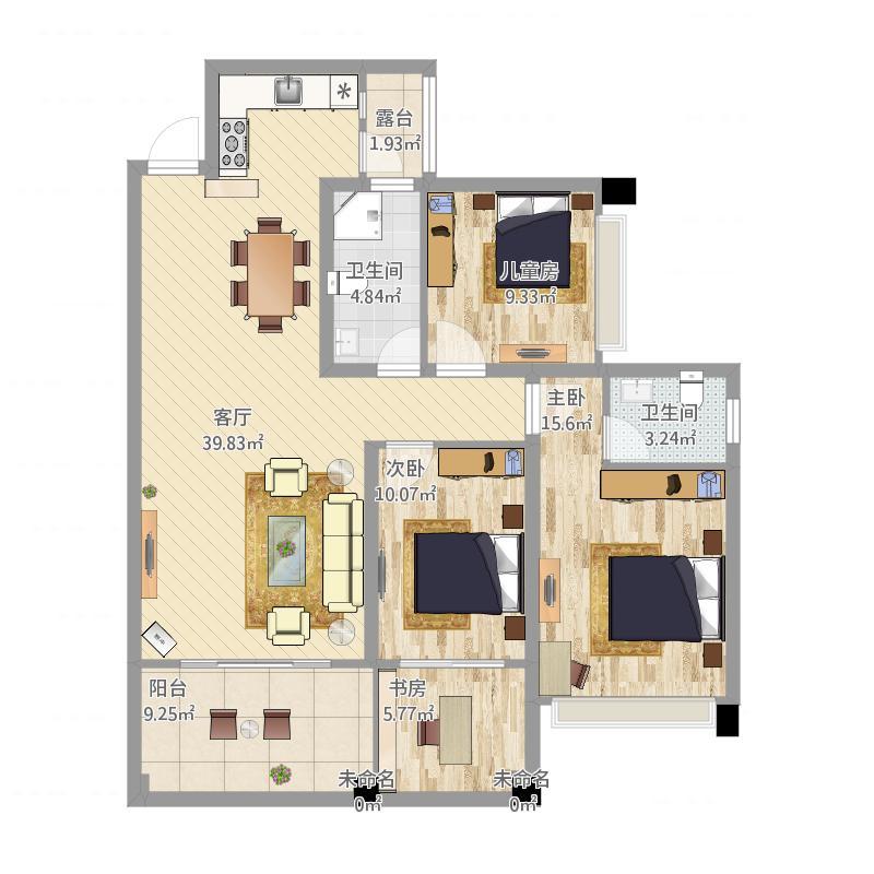 耒阳外滩公馆112方A1三室两厅