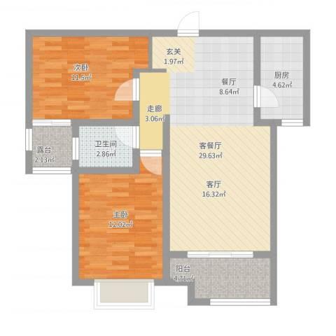 鹿城一号2室1厅1卫1厨98.00㎡户型图