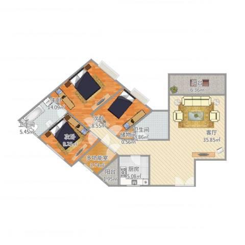 东骏豪苑3室1厅2卫1厨130.00㎡户型图