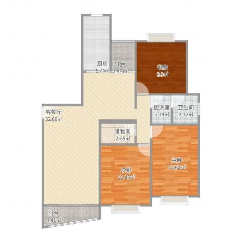 丽都成品3室2厅1卫1厨117.00㎡户型图