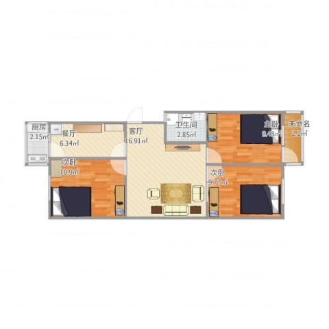 历苑小区3室2厅1卫1厨82.00㎡户型图