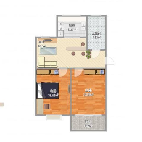 御苑家园2室1厅1卫1厨80.00㎡户型图