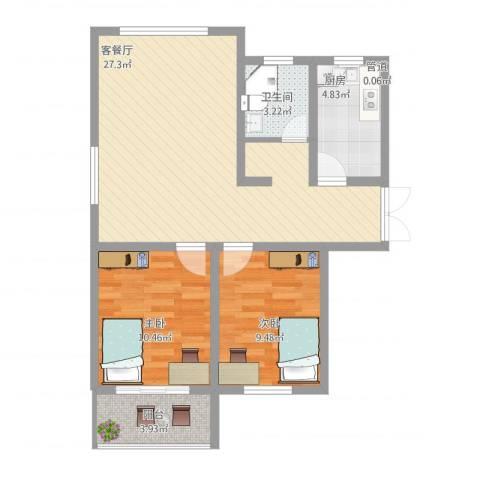馨园丽景2室1厅1卫1厨85.00㎡户型图