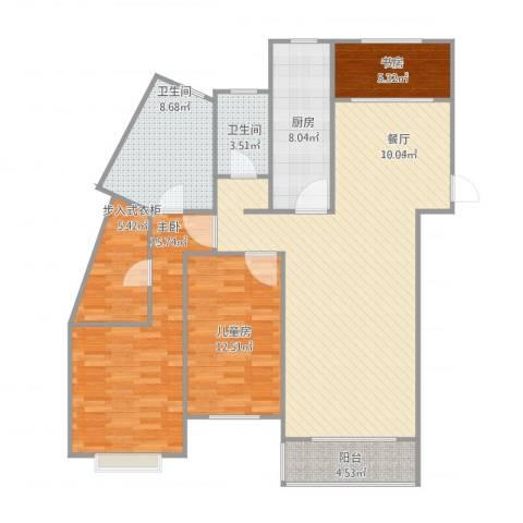 维多利亚广场3室1厅2卫1厨139.00㎡户型图